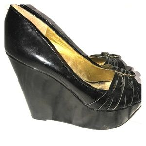 Sam Edelman Black Patent Wedges with Gold Accents